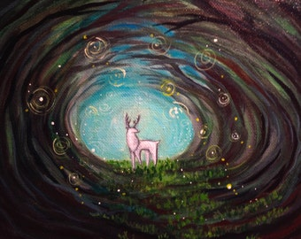 """Original Acrylic Painting- """"Watcher in the Woods""""- Art by Amanda Shelton - Woodland Art Fantasy Art, Original paintings with forests, deer"""