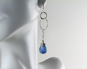 Kyanite rain drops silver links dangle earrings blue rain tear drops denim