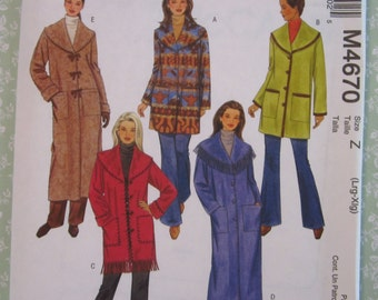 Misses Unlined Loose-fitting Jackets and Coats Sizes L XL UNCUT McCalls Pattern M4670