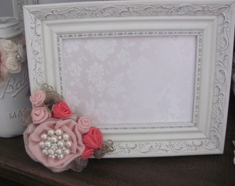 5X7 Ivory Picture Frame, Blush and Coral Handmade Flowers, Coral Wedding Colors, Bridal Party, Wedding Photo