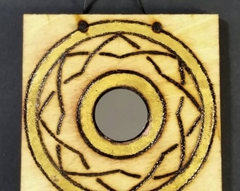 Feng Shui Mirror with Pyrography and Gold Leaf