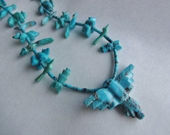 Zuni Corn Maiden Turquoise Fetish Necklace