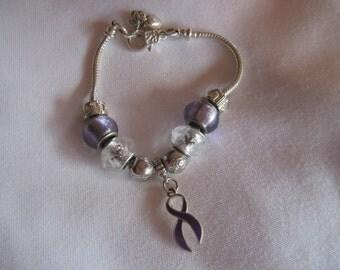 Purple Ribbon European Style Charm Braclet