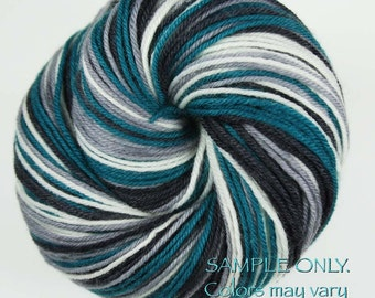 "Dyed to Order: Self-striping Hand-dyed Sock Yarn - ""TEAL GREEN - Black - GRAY - White"" - Football yarn - Baseball colors yarn - Philadelphia"