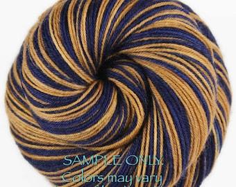 "Dyed to Order: Self-striping ""BLUE - GOLD"" Handdyed Sock Yarn - Football Hockey Sports - School - Team colors yarn - Los Angeles - Milwaukee"