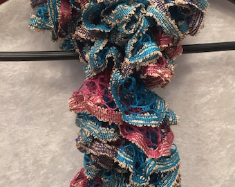 Blue Scarf, Pink Scarf, Purple Scarf, Gold Scarf, Ruffle Scarf, Sequin Scarf, Sparkly Scarf, Gift For Her, Hand Knit Scarf, KnitWittyKnots
