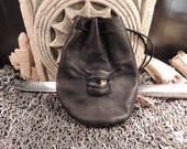 Dragon eye dice bag (Off Black  leather with  Blue/Yellow  Eye)----New Style-----