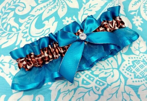 Wedding Garter , beautiful blue and leopard print