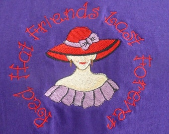 Red Hat Society T-shirt - Red Hat Friends Last Forever Lady
