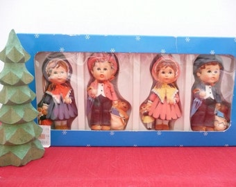 Best Products Set of FOUR Hummel Style Old Fashioned Children Christmas Tree Ornaments with Wood Tree