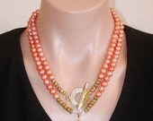 READY FOR SPRING Sale: Ashira Peach Orange Fresh Water Pearls & Unakite Pendant Gemstone Necklace with Toggle