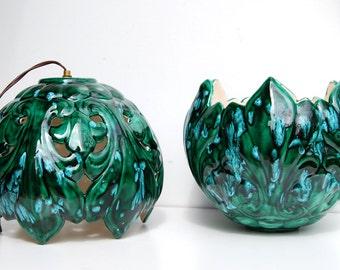 "Vintage Hanging Lamp, Drip Glaze Ceramic, Blue Green, 8"" Round Bowl"