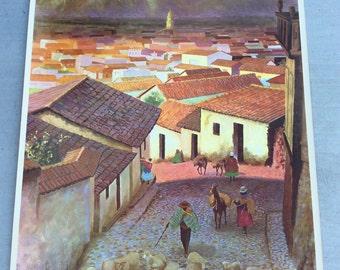 Original Vintage Travel Poster Peru Mid Century Art 50s 60s Large