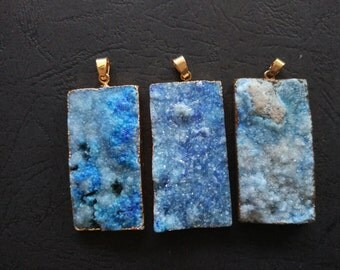 10pcs Sky Blue Druzy Agate Pendant Rectangle 25x50mm- Gold plated- SIMILAR AS Pictured