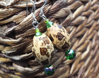 Ivy Vines Pyrography Earrings