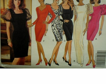 """Fitted Cocktail Dress Pattern, Shaped Neckline, Princess Seams, Long Sleeves, Butterick No. 5849 UNCUT Size 6 8 10 (Bust 30.5-32.5"""" 78-83cm)"""