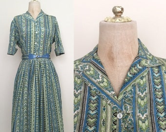 20% OFF 1950's Blue & Green Floral Striped Printed Dress Set Top and Skirt Size Small by Maeberry Vintage