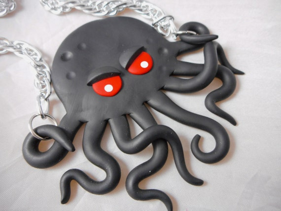 Angry Black Giant Octopus Necklace