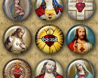 SACRED HEART 1 inch Circles - Digital Printable vintage art collage sheet for Pendants Cufflinks Magnets Crafts...Jesus Mary Burning Hearts