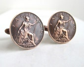 Coin Cuff Links - Great Britain, UK - Bronze Farthing Coins
