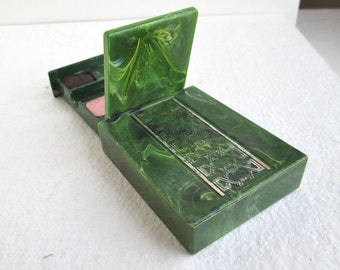 Marbled Makeup Box - Mirror & Blush, Green Celluloid / Vintage Plastic