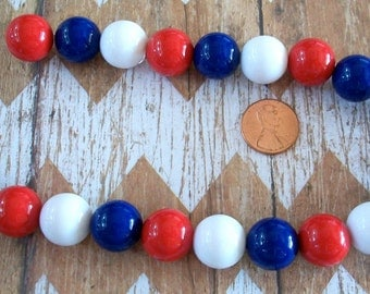 Gumball Red, White, and Blue Beads Strand Fourth of July Jewelry Supplies