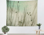 Bird Tapestry - Art Tapestry - Wall Hanging - Bird Wall Tapestry - Mint Green Sky - Bird Silhouette - Bird Wall Art - Dorm Tapestry