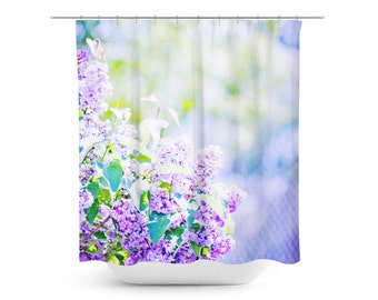 Shower Curtain - Purple Flowers Decor - Spring Photograph - Art Bathroom Decor - Abstract Home Decor - Floral Photography - Purple and Green