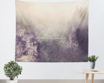 Mountain Tapestry Wall Hanging Breathtaking Modern Photography Unique home decor forest green trees gray grey tan purple tones Bridge