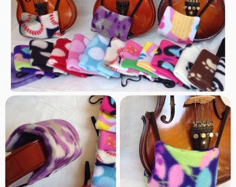 1/16, 1/10, 1/8, 1/4, 1/2, 3/4 or 4/4 violin size - Comfortable Violin Chin Rest Cover in Fleece Patterns