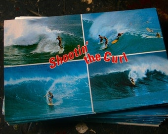 SURFING POST CARD Vintage 60's Shootin' the Curl Surfer
