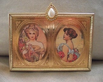 Picture Frame - Double 2 1/2 x 3 1/2 Goldtone Vintage Metal Picture Frame with Beautiful  Pearl and Rhinestone Jewel