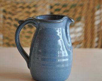 Pottery Creamer in Deep Blue Glaze Wheel Thrown
