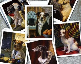Dog Portrait Notecards - Dog Lover Cards - Pug - Greyhound - Labrador - Cavalier King Charles - Rescue Dogs