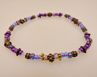 Fantasy Purple and Brass Bead Anklet