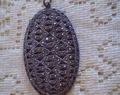 antique Oval MARCASITE PENDANT 1920s    FREE Domestic Shipping