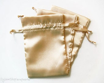 10 4x6 Champagne Satin Bags with Drawstrings - Wedding Favor Bags, Sachets, Gift Bags, Jewelry Bags