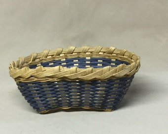 Small Oval Basket, Hand Woven, Royal Blue Accent Color, Candy