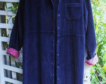 Navy Maxi Corduroy Dress-Coat/ Wide Wale Cord Coat with Red Plaid Trim/ Size 12 Vintage Cord Dress/ Shabbyfab Fall Funwear