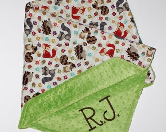 BACK IN STOCK Personalized Woodlands Forest Animals Baby Blanket with Name, Choose Your Minky Color, Fox Blanket, Minky Baby Blanket