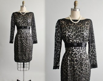 60's Cocktail Dress // Vintage 1960's Black Illusion Lace Cocktail Party Dress S