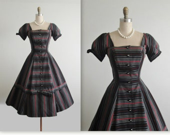 50's Cocktail Dress  // Vintage 1950's Striped New Look Full Bombshell Dress S