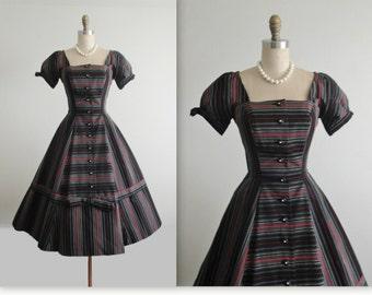 50's Cocktail Dress  // Vintage 1950's Striped New Look Full Bombshell Dress S