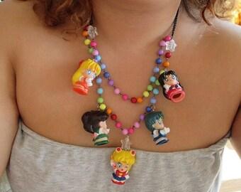 Sailor Moon Necklace - INNER SCOUTS Bandai Figure Necklace - Sailor Scout Gear