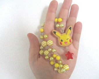 "Pokémon Necklace - PIKACHU- ""Cookie"" Figure Face Necklace - Decora, Kawaii, Pastel Goth"