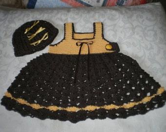 Sunflower Crocheted Dress and Hat Set