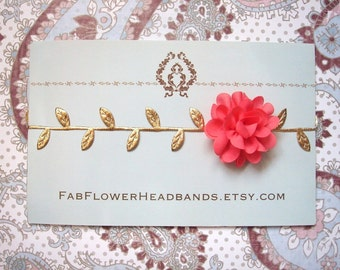 Newborn Coral Flower with Gold Leaves Headband - Grecian Headband - Baby Gold Leaf - Golden Leaves Headband - Newborn Gold Leaves Halo