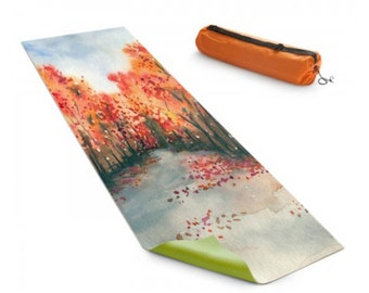 Yoga Mat Autumn Journey Watercolor Painting - Exercise Mat