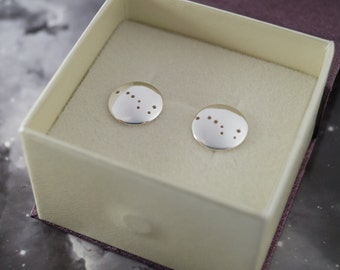Silver Big Dipper earrings: Sterling silver earrings showing the constellation of the Big Dipper or Plough.