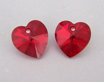 Siam AB Swarovski hearts, 14mm dark red AB crystal heart pendants, qty 2